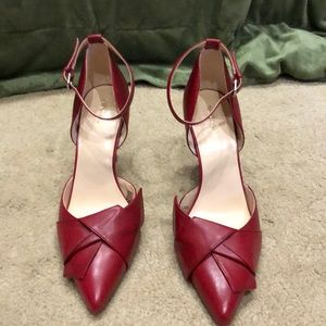 Nine West red pumps w/buckle at ankle, Sz 10.5